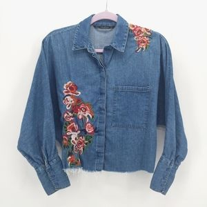 Zara Trafaluc Embroidered Denim Chambray Shirt